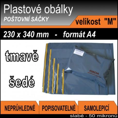 Plastové obálky ECONOMY šedé, vel. M (230 x 340 mm), formát A4, 1ks