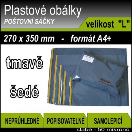 Plastové obálky ECONOMY šedé, vel. L (270 x 350 mm), formát A4+, 1ks