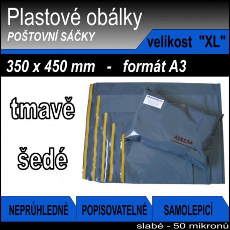 Plastové obálky ECONOMY šedé, vel. XL (350 x 450 mm), formát A3, 1ks