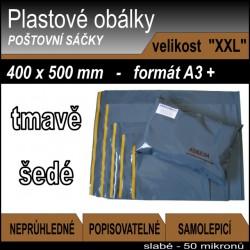 Plastové obálky ECONOMY šedé, vel. XXL (400 x 500 mm), formát A3+, 1ks