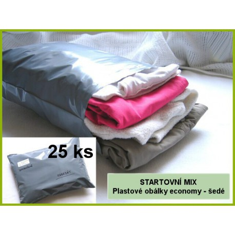 Startovní MIX - plastové obálky ECONOMY šedé, formáty A5 - A3+, 25 kusů