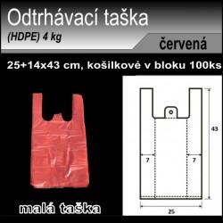 Odtrhávací tašky 4 kg, HDPE, košilka 100ks, 25+14x43cm