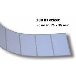 Etikety bílé - pás 100 ks, 75x38mm