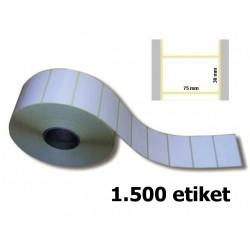 Etikety 75 x 38 mm, papír bílý, 1500 ks na kotouči