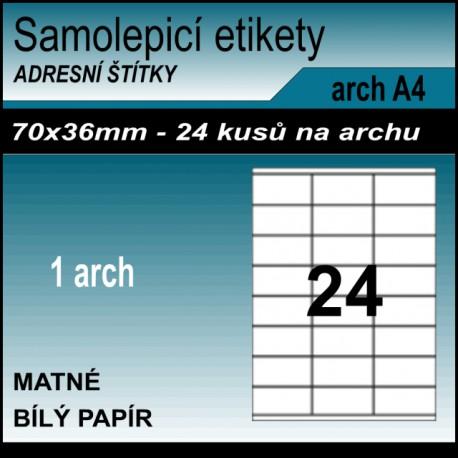 Etikety papírové bílé na archu A4, 24 ks, 70x36 mm
