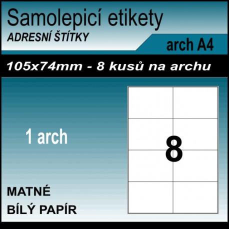 Etikety papírové bílé na archu A4, 8 ks, 105x74 mm