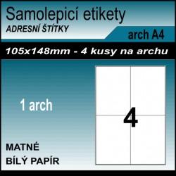 Etikety papírové bílé na archu A4, 4 ks, 105x148 mm