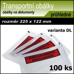 Transportní obálka na dokumenty s potiskem 225x122 mm, formát DL, 100 kusů