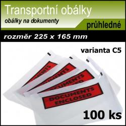 Transportní nalepovací obálka 100 ks, formát C5 s potiskem