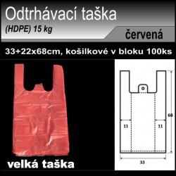 Odtrhávací tašky 15 kg, HDPE, košilka 100ks, 33+22x68cm