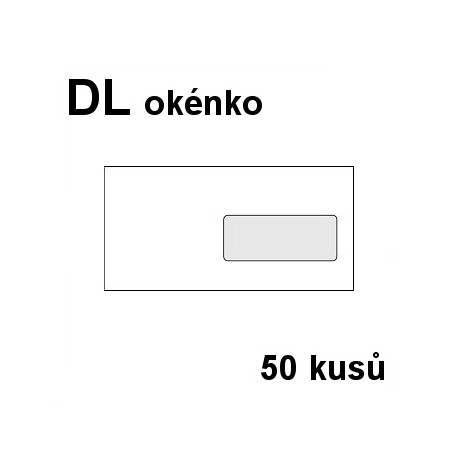 Obálka dopisní DL-okénko, samolepící s krycí páskou, 110x220 mm, 50 ks