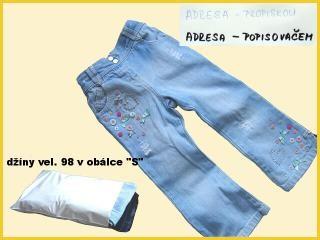 Malé dětské džíny v plastové obálce vel. S
